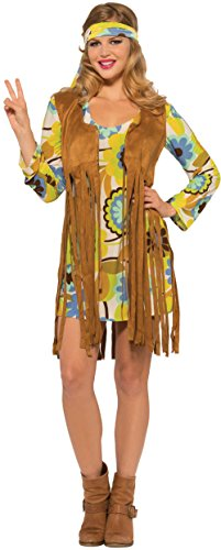 Women's World At Peace Faux Leather Hippie Girl Dress Costume Medium 8-10 (70s Hippie Outfits)