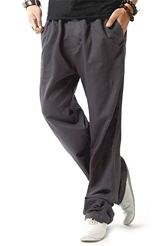 FASKUNOIE Men's Drawstring Casual Walking Trousers Baggy Autumn Pants with Slant Pockets Gray