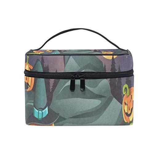 Makeup Bag Halloween Pumpkins Cosmetic Bag Portable Large Toiletry Bag for Women/Girls Travel ()