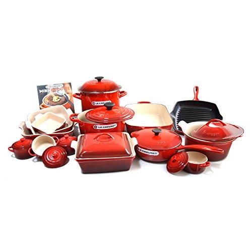 Le Creuset Signature Cherry Enameled Cast Iron 24 Piece Cookware Set