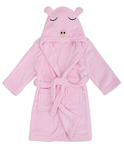Sleeved Girls Fleece Long Robe (Child Cartoon Robe Animal Plush Soft Hood Terry Bathrobe,Pig Pink,S(1-3 Years))