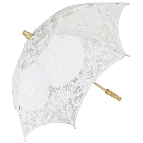 Just Artifacts Mini 11-Inch Lace Parasol Umbrella Costume Accessory - Color White