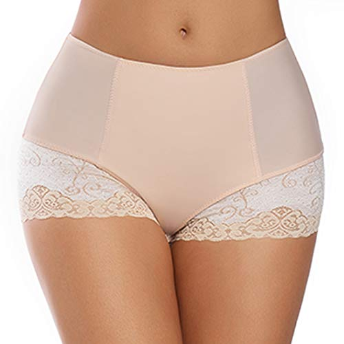 Boy Cut Lace Panty - Lace Panties for Women Full Coverage Boy Shorts Under Dress Mid Waist Light Tummy Control Underwear Nylon (Beige, Large)
