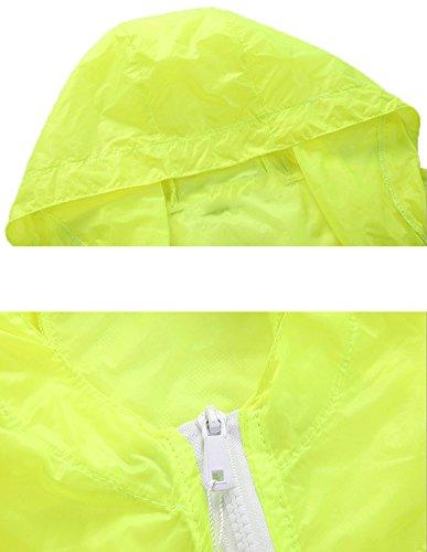 Mochoose Mujer Súper Ligera Chaqueta con Capucha al Aire Libre Seco Rápido Cortavientos Impermeable UV Proteger el Escudo de la Piel Anguria rossa