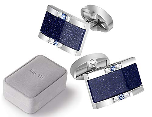 BagTu Galaxy Cufflinks Set, 2pcs Starry Sky Rectangular Dark Blue Cufflinks with Gift Box and 1pc Greeting Card