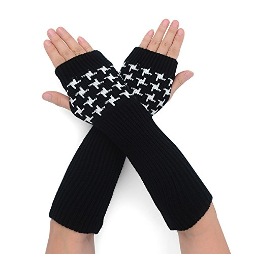 Flammi Women's Rib Knit Arm Warmers Houndstooth Fingerless Gloves Thumb Hole Gloves Mittens