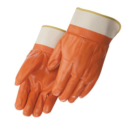 Liberty 2530 PVC Glove with 2-1/2'' Rubberized Safety Cuff, Chemical Resistant, Large, Tan (Pack of 12)