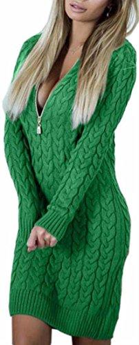Jaycargogo Manches Longues Solide Femmes Debout Dessus Robe Blouse Zip Col Vert