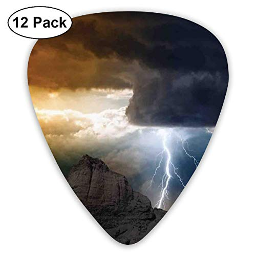 Guitar Picks - Abstract Art Colorful Designs,Thunder Rays From Dark Clouds Hitting Down To The Mountain Storm Theme Art Print,Unique Guitar Gift,For Bass Electric & Acoustic Guitars-12 Pack