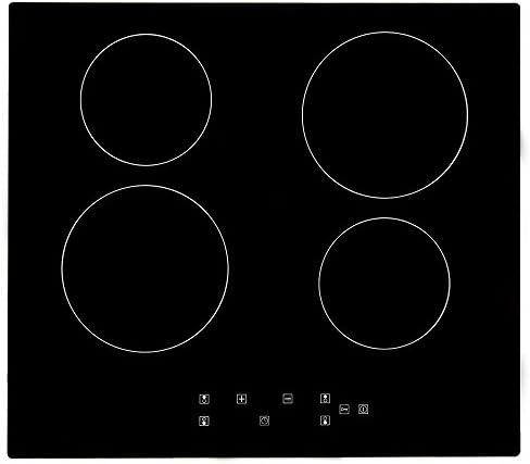 Placa de cocción de cerámica, 4 fuegos empotrables, placa de cerámica eléctrica, 6000 W, integrada, control táctil, temporizador, placa de cocción de cerámica, 60 cm (4 fuegos): Amazon.es: Grandes electrodomésticos