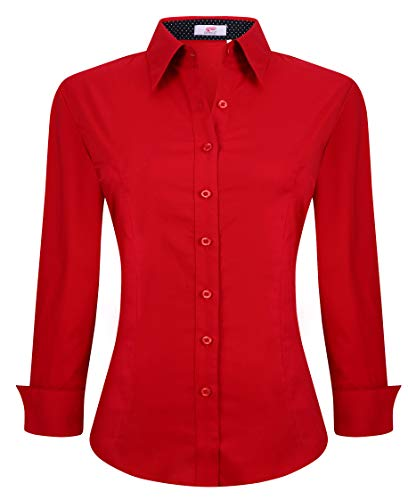 Womens Button Down Shirts Long Sleeve Regular Fit Cotton Stretch Work Blouse Red M