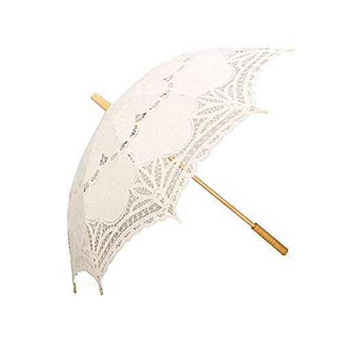 Big-time Lace Parasol Umbrella,Handmade European Style White/Black/Beige Wooden Handle Dome Umbrella Classic Decorative Umbrella for Weddings Decoration,Bridesmaid,Photo Props and Garden Party (Handmade Umbrella)