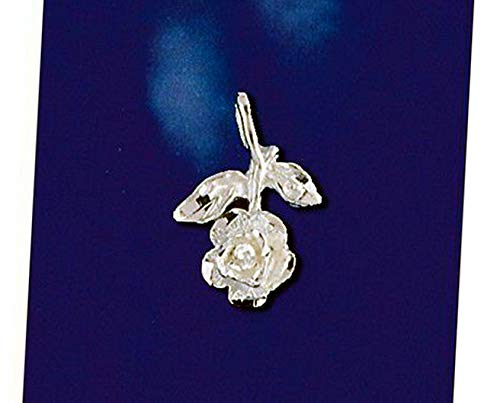 Sterling Silver Long Stem Rose Pendant Italian Love Flower Charm 925 Vintage Crafting Pendant Jewelry Making Supplies - DIY for Necklace Bracelet Accessories by CharmingSS (Long Stem Rose Charm)