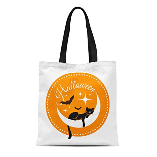 Semtomn Canvas Tote Bag Shoulder Bags Yellow Animal Round for Halloween Black Cat on Crescent Women's Handle Shoulder Tote Shopper -