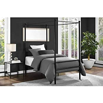 Amazon Com Mainstays Metal Canopy Bed Twin Black