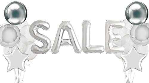 Sale Sign Retail Store Display For Business Signs Advertisement Signage Yard Sales Clearance Giant Letter Silver Balloons Star Orb Round Mylar Clear Glitter Confetti Mylar Foil Promotional Promotion ()