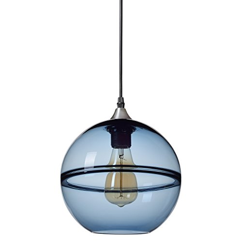 Casamotion Pendant Lighting Handblown Glass Drop Hanging Light, Unique Optic Glass Pendant Lamp, Brushed Nickel Finish, Grey Blue, 9''