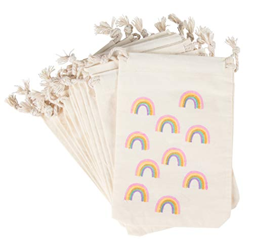 Party Favor Bags - 12-Pack Rainbow Party Favor Bags - Mini Canvas Drawstring Treat Gift Pouches, Rainbow Party Supplies | Kids Birthdays, Unicorn Parties, Rainbows with Gold Glitter, 4 x 6 Inches