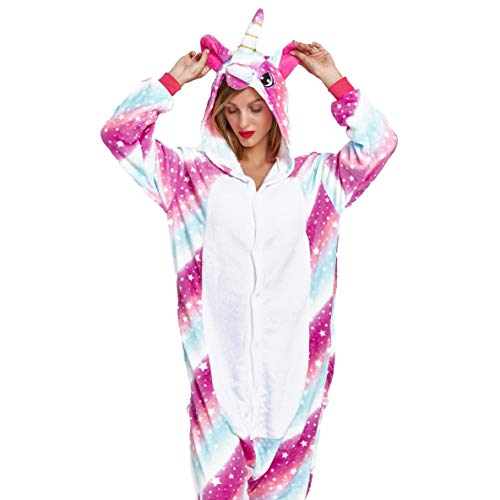 NOUSION Licorne Unisex Adult Pajamas, Cosplay Christmas Unicorn Sleepwear Onesies Outfit (S, Sky Unicorn New) -