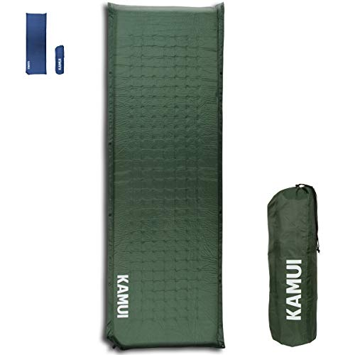 KAMUI Self Inflating Sleeping Pad - 2 Inch Thick Camping Pad Connectable with Multiple Mats for Tent and Family Camping (Green)