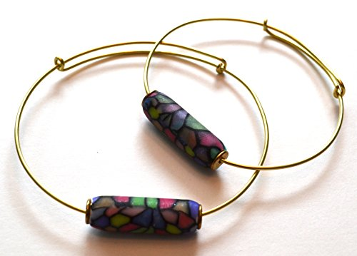 Double Barrel Polymer Bead © & brass wire expandable bangle bracelet, tiffany style stained glass polymer clay finish, bullet bead bracelet