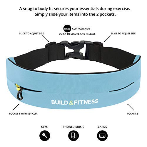 Build & Fitness Running Belt Waist Adjustable, Comfortable Slim with Key Clip - Fits Fuel Gel, iPhone 6,7,8plus,X, Samsung S7,S8,S9 - for Men, Women, Runners, Jogging, Gym, Yoga, Workout, Sports by Build & Fitness (Image #3)