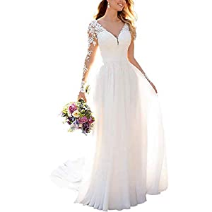Clothfun Women's V-Neck Lace Beach Wedding Dresses for Bride 2021 Long Sleeve Bridal Gowns Style9 Ivory 16