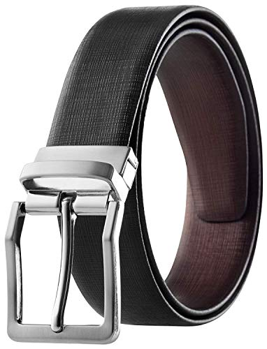 Men's Reversible Belt Top Grain Italian Leather Black & Brown Criss Cross Design Size 44