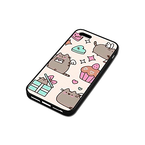 Cover iPhone SE Case,Pusheen Cat [PC+ TPU] Case Cover iPhone SE Anti-Scratch Shock-Absorbing Bumper Back Panel Protective Cover S6D1DFY