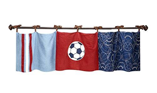 NoJo Play Ball, Window Valance, Navy/Red/Indigo/Ivory/Brown Denim Sports Valance