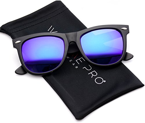 Matte Reflective Revo Color Lens Large Horn Rimmed Style Sunglasses (Mirror Purple, 50)