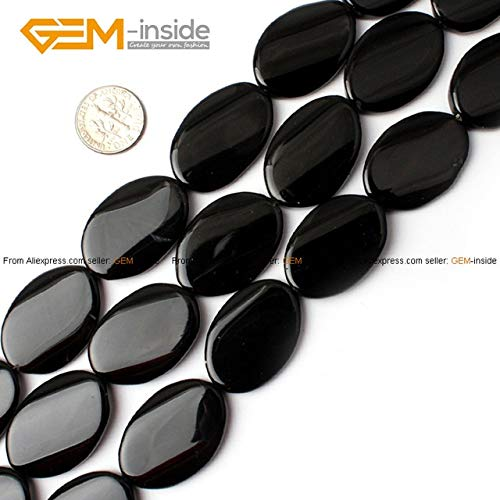 (Pukido Gem-Inside 13-20mm Natural Twist Twisted Flat Oval Black Agates Stone Beads for Jewelry Making Bracelet 15'' DIY Jewellery - (Color: 20X30MM))