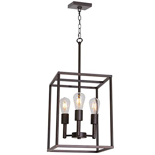 VINLUZ 3 Light 12'' W Hall-Foyer Cage Pendant Light Lantern Iron Art Design Oil Rubbed Bronze Farmhouse Chandelier Ceiling Lighting for Kitchen Dining Room Entryway Foyer