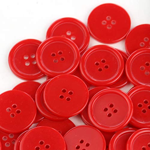 GANSSIA 1'' (25mm) Sewing Flatback Buttons Red Color Pack of 50 ()
