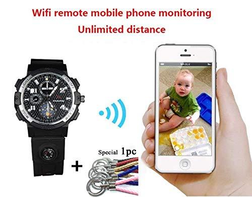 KEQI Smart WIFI Watch Remote Monitoring Mini Camera Wireless Watch 720P HD IP P2P Night Version DV Video Audio Recorder (Built in 32GB)