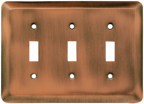 Franklin Brass 64377 Stamped Steel Round Triple Toggle Switch Wall Plate / Switch Plate / Cover, Antique Copper