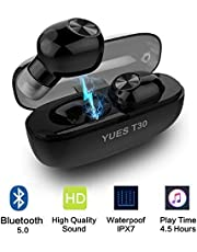YUES Auriculares con Bluetooth 5.0, Estéreo Inalámbricos Wireless IPX7 Resistente al Agua, Micrófono y Asistente Siri Google, hasta 15 Horas de Funcionamiento con Estuche de Carga - Negro