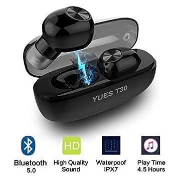 YUES Auriculares con Bluetooth 5.0, Estéreo Inalámbricos Wireless IPX7 Resistente al Agua, Micrófono y Asistente Siri Google, hasta 15 Horas de ...