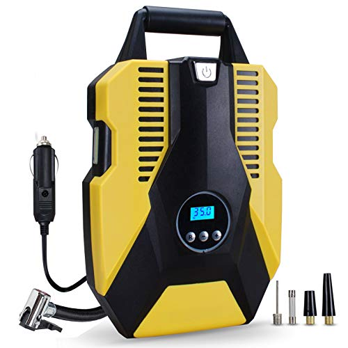 Perizons Digital Tire Inflator - 12-Volt Portable Auto Air Compressor with Work Light and Precise Preset Gauge and Carry Case