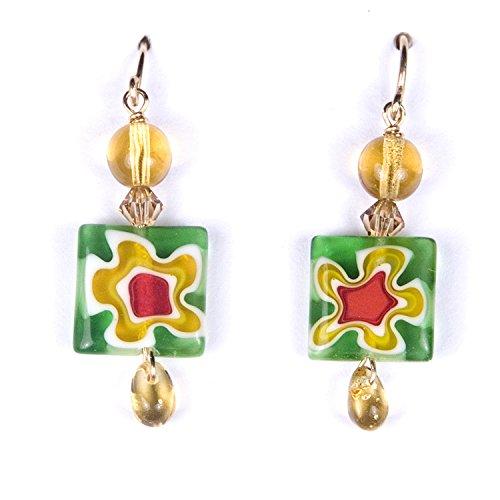 (Dangle Earrings Spring Flower Splash, Handmade Glass)