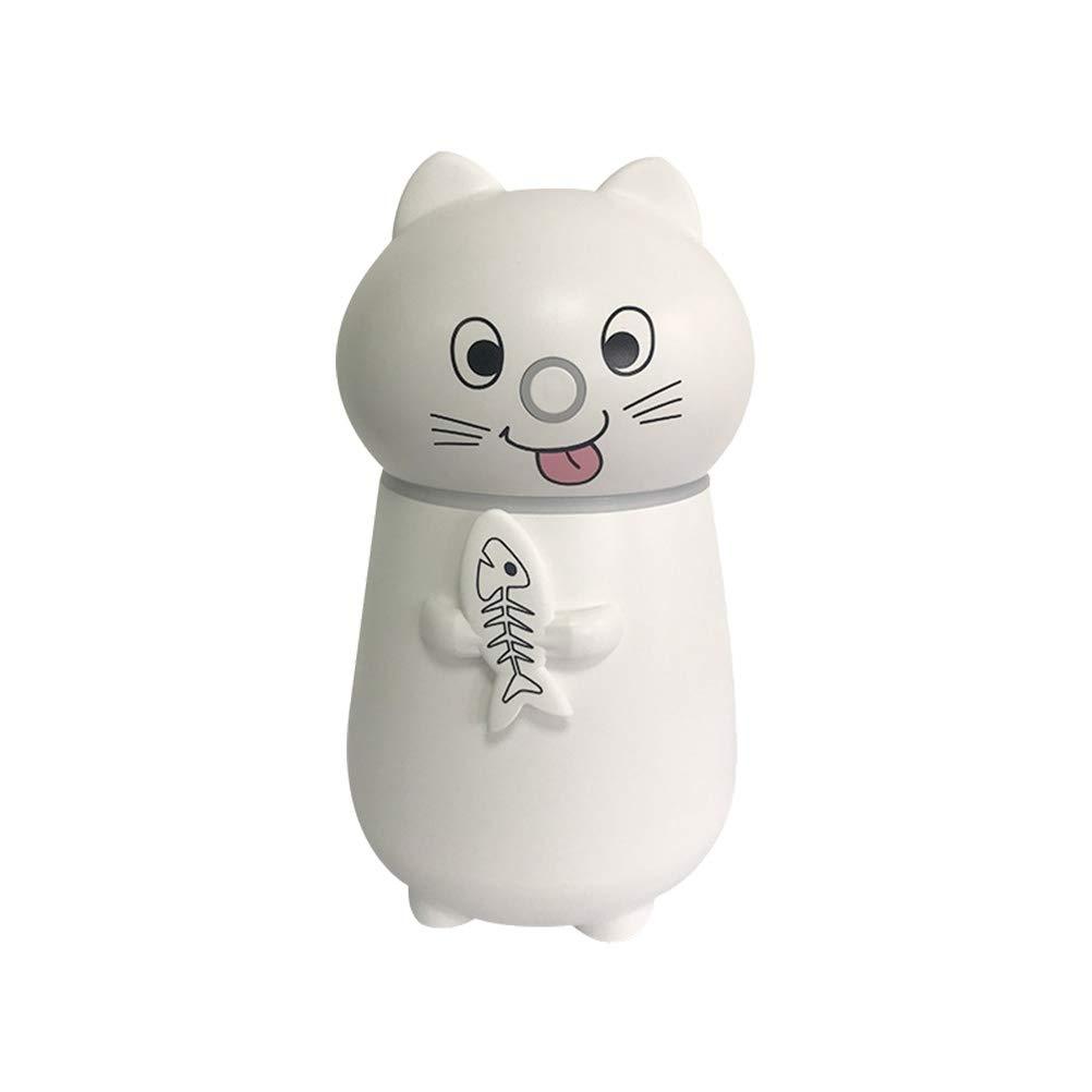 Hogar Lindo Mascota Gato humidificador USB Mini Escritorio Luz Nocturna pequeña Humidificador Tres en uno (Blanco)