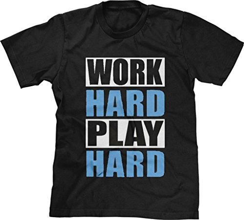 Blittzen Mens T-shirt Work Hard Play Hard-White Blue, XL, (Mens Ls Work Shirt)