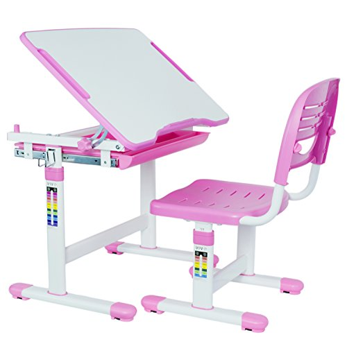 Furniture Childrens Desk Kids Tables (VIVO Height Adjustable Childrens Desk & Chair Set | Kids Interactive Work Station Pink (DESK-V201P))