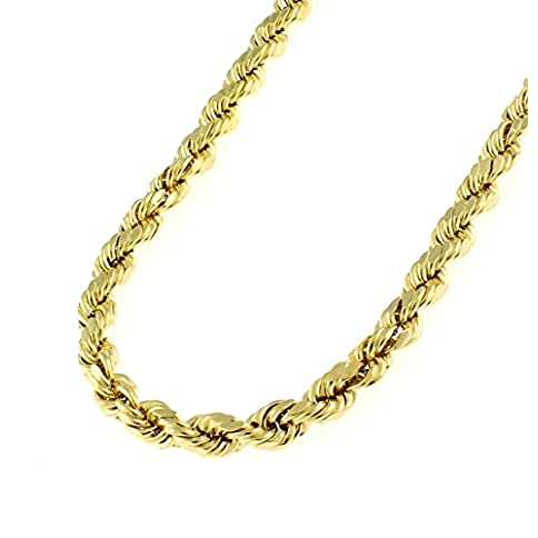 - 41rbHM0VQKL - 14K Solid Yellow Gold 1.5mm, 2mm, or 3.2mm Diamond Cut Rope Chain Necklace Unisex Sizes 16″-30″ -Solid Gold Heavyweight