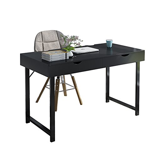 Soges 47'' Computer Desk Office Desk with Drawers Workstation Desk for Home Office Writing Desk, Black 858-BK by soges
