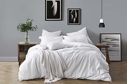 Swift Home 100% Cotton Washed Yarn Dyed Chambray Duvet Cover & Sham Bedding Set, Ultra-Soft Luxury & Natural Wrinkled Look – Full/Queen, ()