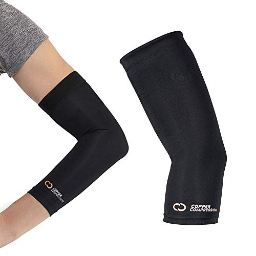Copper Compression Recovery Elbow Sleeve - Guaranteed Highest Copper Content Elbow Brace for Tendonitis, Golfers or Tennis Elbow, Arthritis. Elbow Support Arm Sleeves Fit for Men and Women (Large) 1