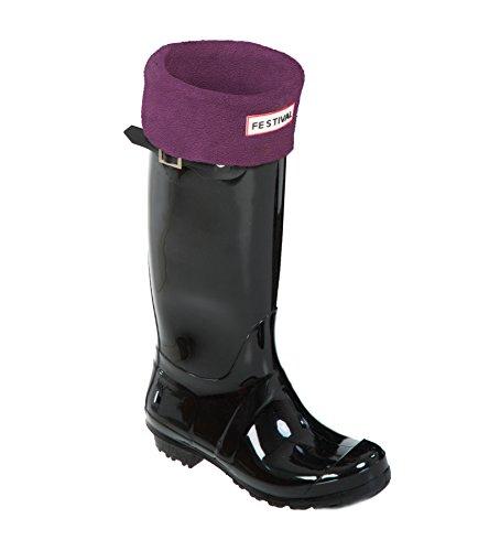 Ladies Original Tall Warm Winter Rain Wellies Wellington Boots Sizes 3-9 UK Black P / Plum