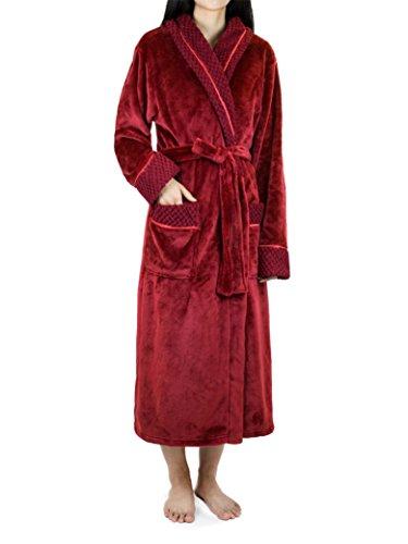 Deluxe Women Fleece Robe with Satin Trim | Luxurious Plush Spa Bathrobe Waffle Design