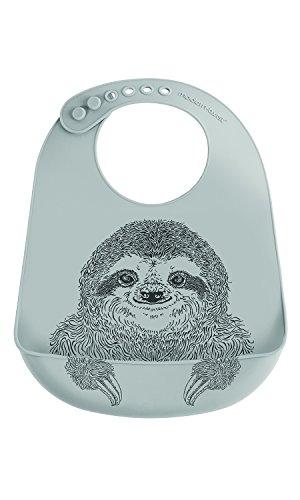 modern-twist Sloth Waterproof Silicone Baby Bucket Bib with Adjustable Strap, Plastic Free, Wipe Clean and Dishwasher Safe, Grey